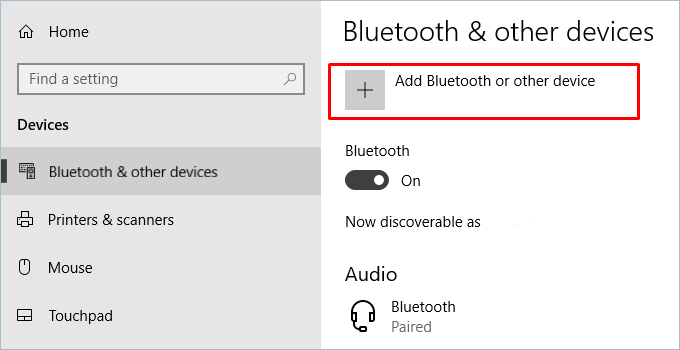 Adding Bluetooth Device
