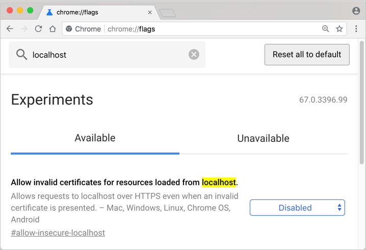 Allow Insecure Localhost Sites