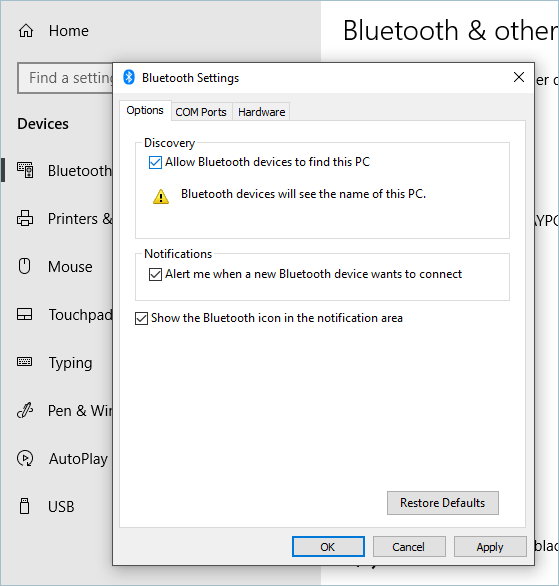 Allowing Bluetooth Device To Find This PC