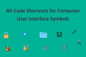 Alt Code Shortcuts for Computer User Interface Symbols