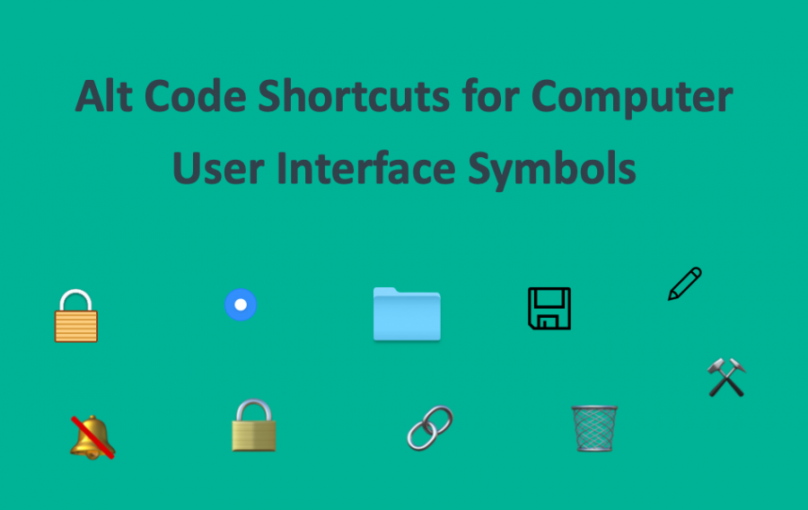 Alt Code Shortcuts for Computer User Interface Symbols