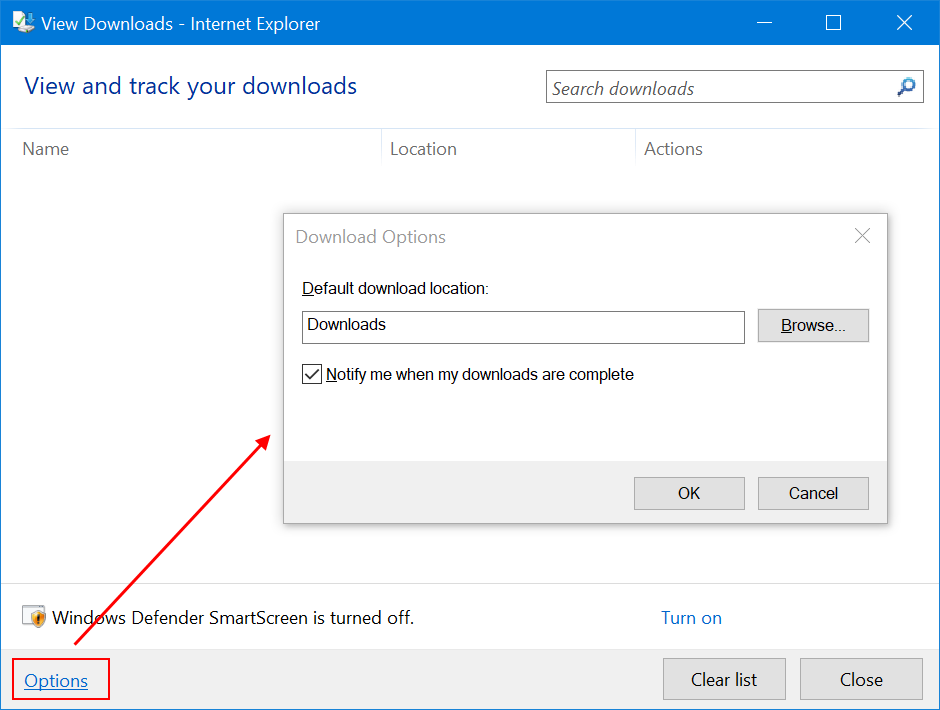 Change Download Folder Location in IE11