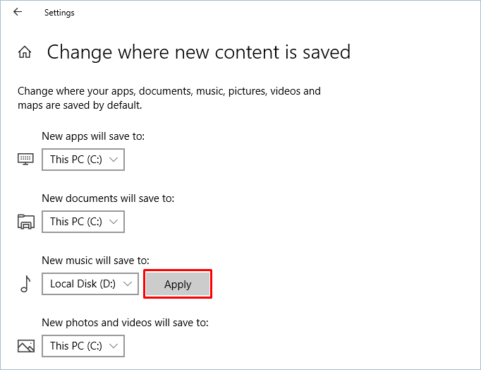 Changing the Drive for New Content Saving