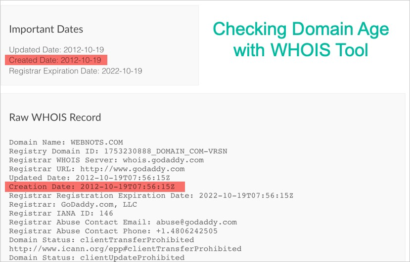 Checking Domain Age with WHOIS Tool
