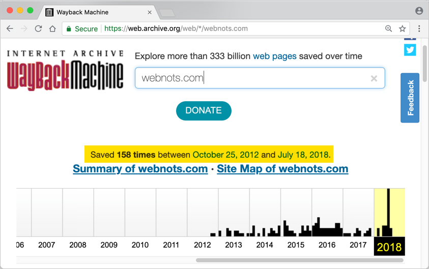 Checking Domain Details in Wayback Machine