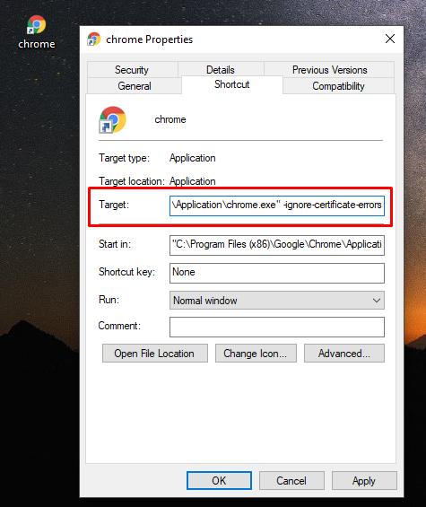 Chrome Shortcut Modification
