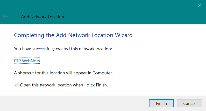 Complete Adding Network Location