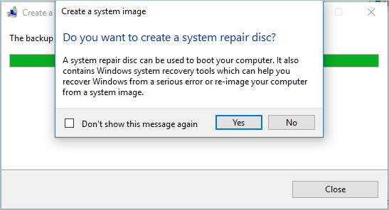 Creating System Image Repair Disc