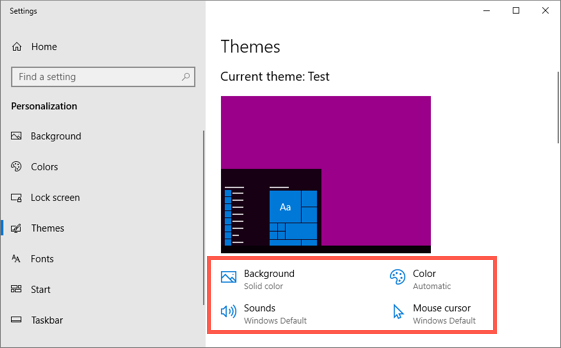 Customize Custom Theme in Windows 10