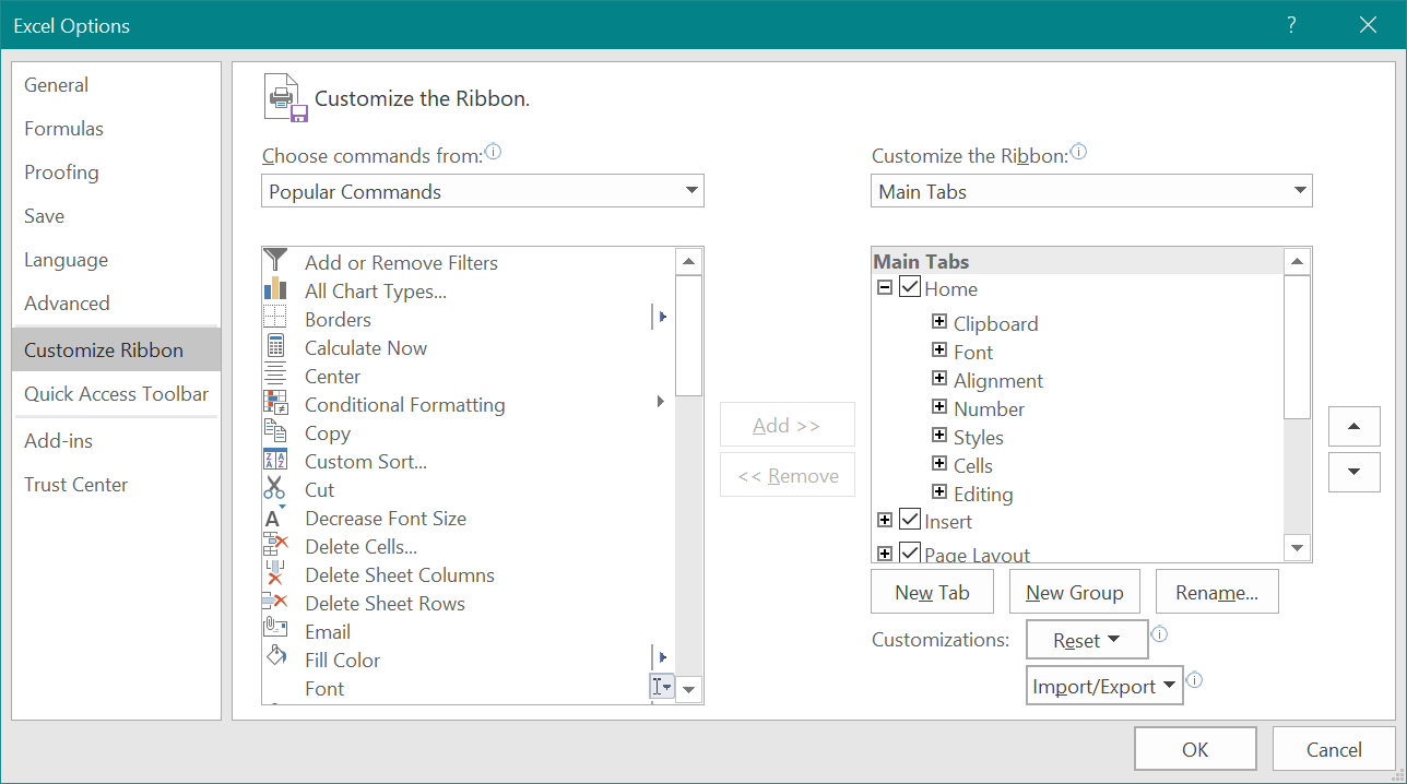Customize Ribbon in Excel