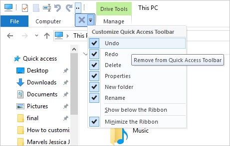 Customizing Quick Access Toolbar
