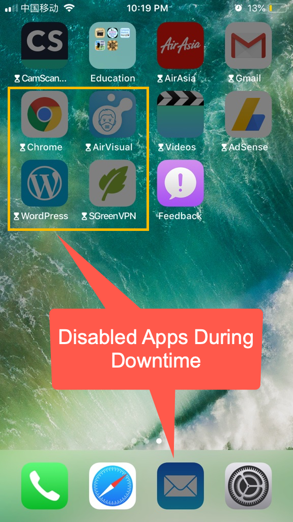 Disabled Apps During Downtime
