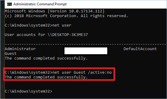 Disabling User Account Through CMD