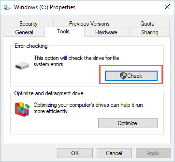 Disk Check Tool for Windows