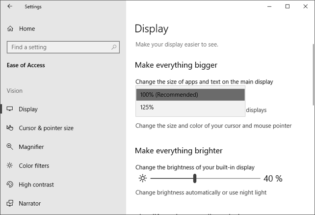 Display Size Settings
