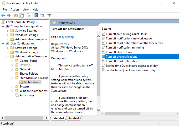 Group Policy Editor Path For Live Notifications
