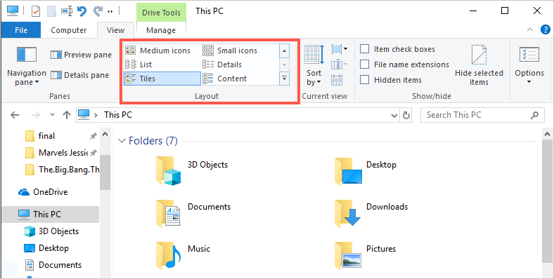 Change Layout in File Explorer