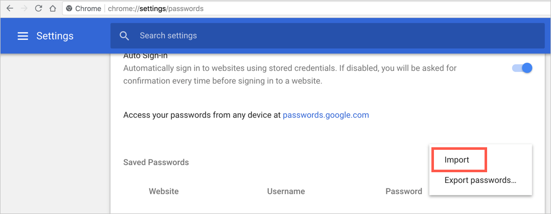 Import Password in Chrome