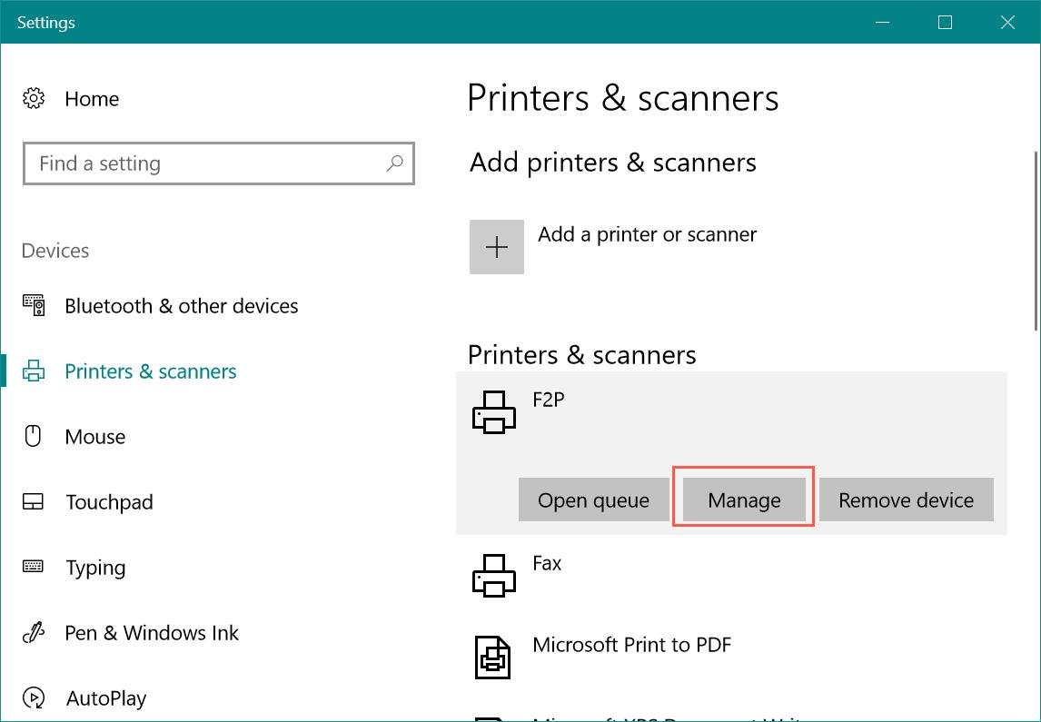 Manage Printer