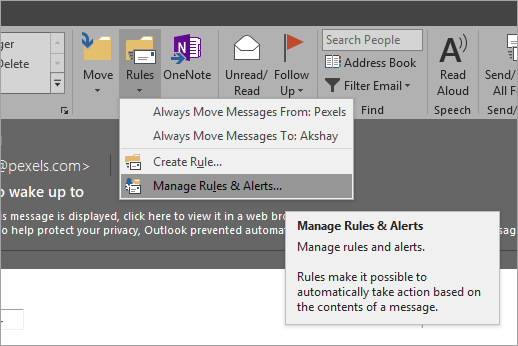 Manage Rules & Alerts
