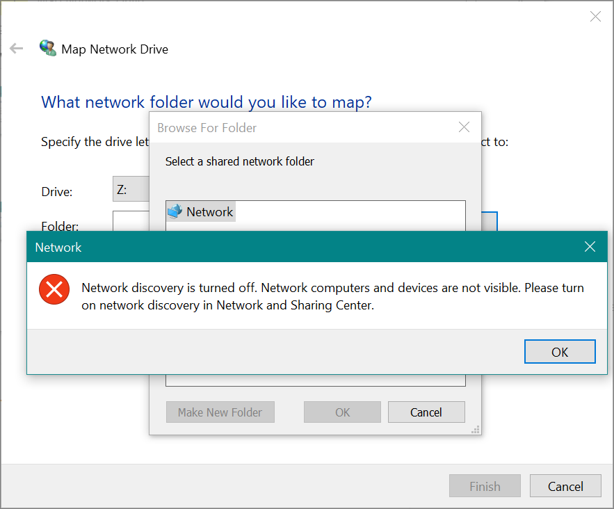 Network Discovery Disabled