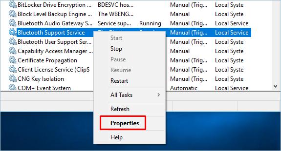 Properties Of Bluetooth Service