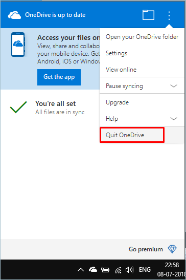 Quitting OneDrive