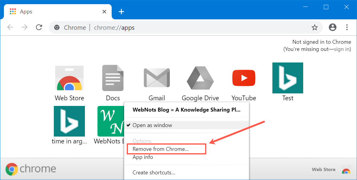how to remove add shortcut on chrome