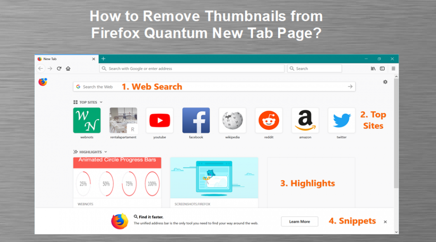 How to Remove Thumbnails in Firefox Quantum New Tab Page?