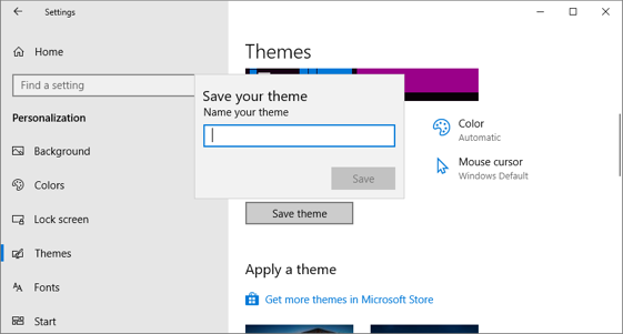 Save Custom Theme