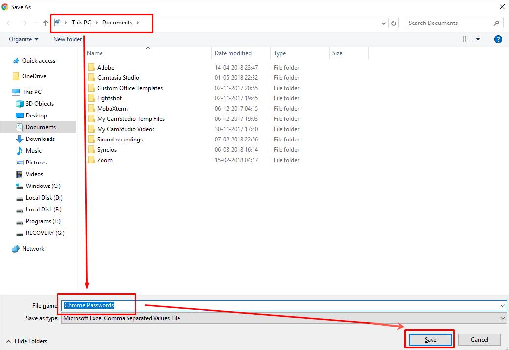 Saving Password CSV File