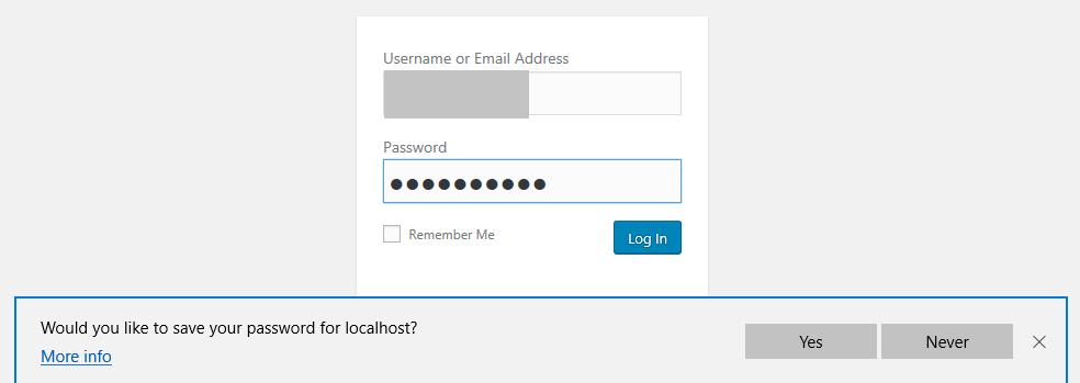 Saving Password For Account