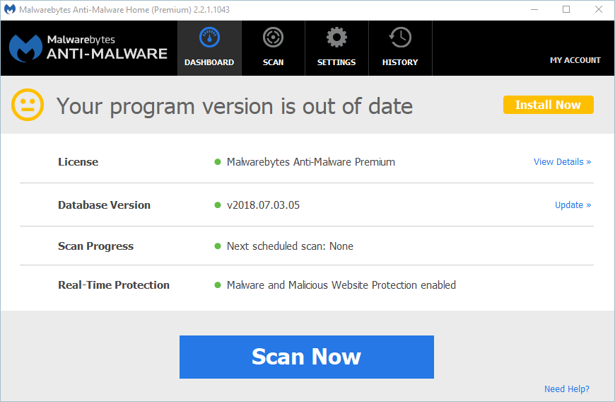 Scanning With Malwarebytes