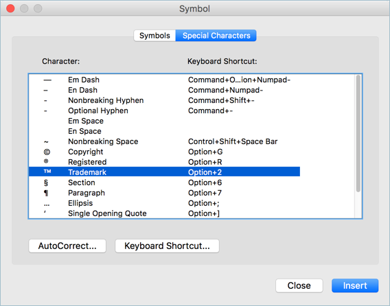 Special Characters and Symbols in Word Mac