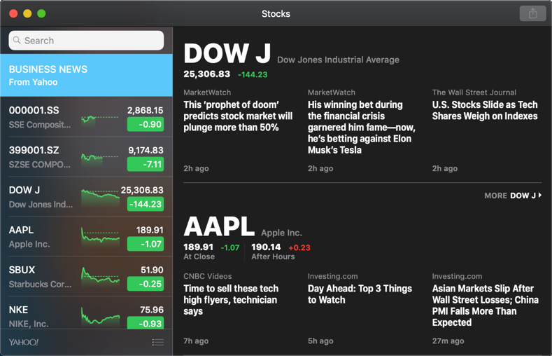 Stocks App in macOS Mojave