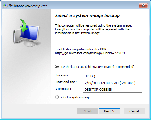 System Image File Selection