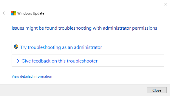 Trying As Administrator For Troubleshooting