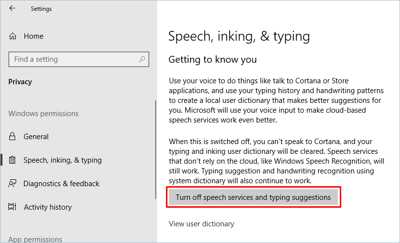 Turning Off Cortana Suggestions Services