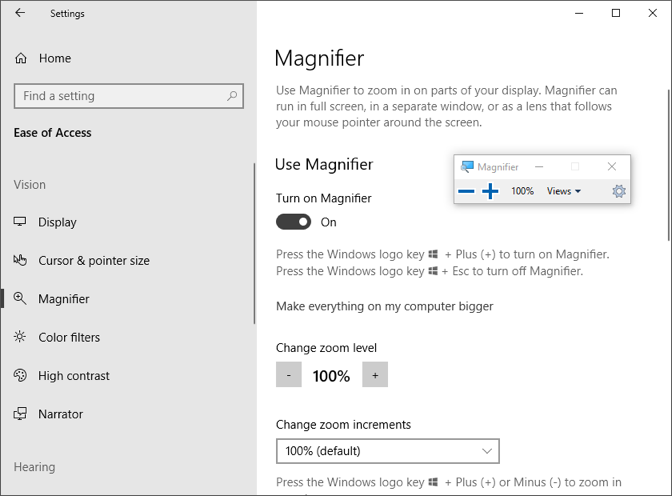 Turning On Magnifier