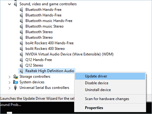 Updating Driver for Audio