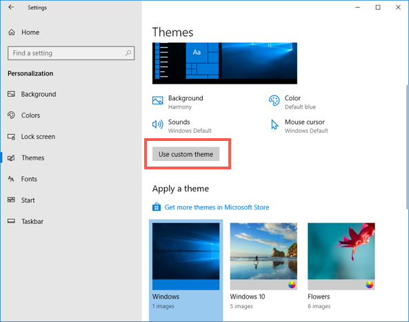 Use Custom Theme in Windows 10