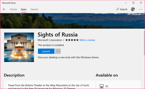 View Theme Details in Microsoft Store