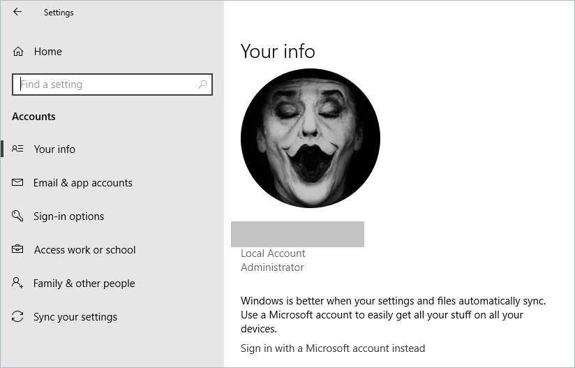 Viewing User Account In Windows 10