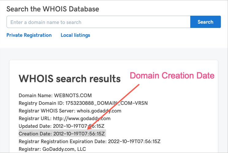 WHOIS Tool for Checking Domain Age