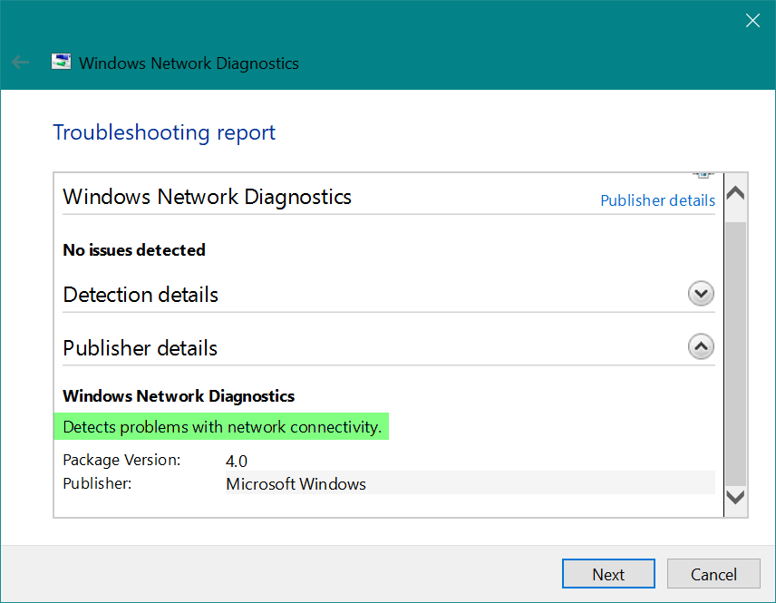 Windows Network Diagnostics Tool