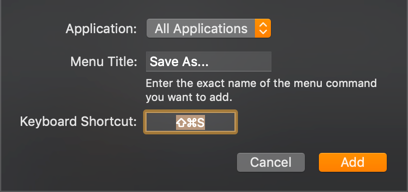 Add Shortcut for Save As Menu