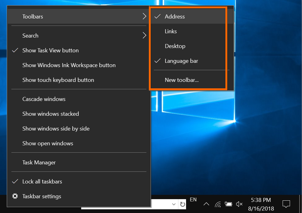 Add Toolbars in Taskbar