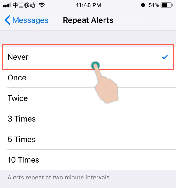 Choose Never for Repeat Message Reminder