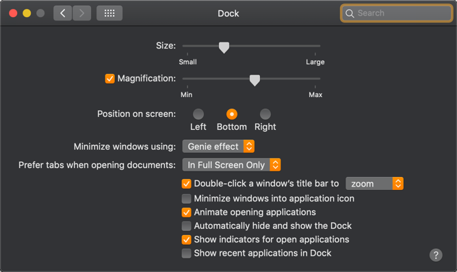Customize Dock in Mac